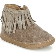 Boots enfant filles shoo pom bouba fringe marron