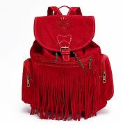 Femme rouge sac à dos avec franges décoratives lesara