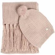 Echarpe et bonnet maille tricot a fil lurex - couleur - praline, taille - tu solde