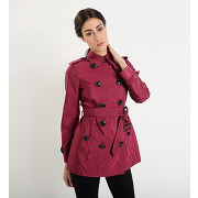 Trench court ceinturé en nylon - rouge - femme - burberry