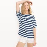 Tee shirt col rond, rayures - feminin - bleu - levi's