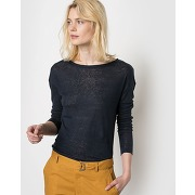 Soldes ! t-shirt ample pur lin - feminin - bleu - la redoute collections