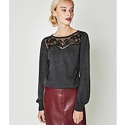 Pull resille brodee femme gris clair - promod