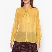 Soldes ! chemise avec lavallière - feminin - jaune - maison scotch