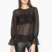 Soldes ! blouse plumetis et volants hyeres - feminin - noir - valerie khalfon