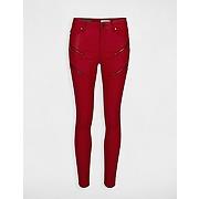 Jean skinny enduit à zips taille 38 rouge
