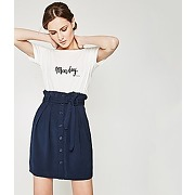 Jupe ceinturee femme marine - promod