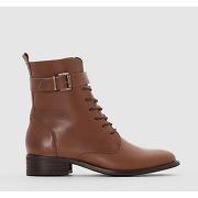 Boots cuir à lacet marron