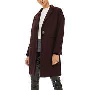 Manteau mi-long coupe loose rouge topshop femme