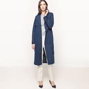 Manteau long, effet denim, à ceinture bleu indigo