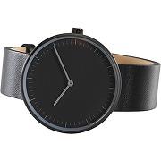 Molvena, montre, noir et bracelet en cuir noir
