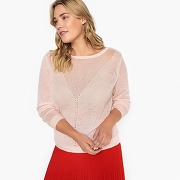 Pull col rond maille fine, ajouré rose poudre