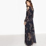 Robe décolletée dos, manches fendues et volants imprimé fleurs fond noir