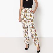 Pantalon large imprimé, bas de jambes élastiqués imprimé fleurs