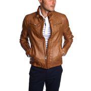 Blouson faux cuir homme casual marron