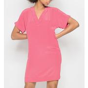 Robe en soie lavée manches fendues rose ikks femme
