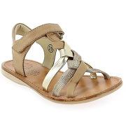 Sandales et nu-pieds noel strass camel pour enfant fille en cuir