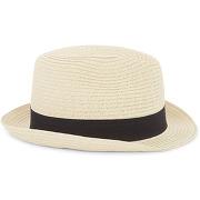 Chapeau avec galon couleur naturel/noir - monoprix femme