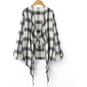 Trendy à manches longues asymétrique plaid kimono blouse pour les femmes