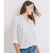Longue chemise femme raye blanc - promod