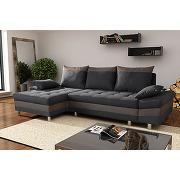 Canapé d'angle convertible en tissu et pu guido, avec coffre de rangement, coloris anthracite et taupe