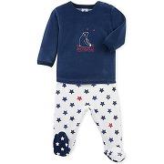Pyjama bébé garçon à pieds petit bateau bleu, blanc