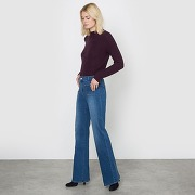Soldes ! jean flare taille haute - feminin - bleu - la redoute collections
