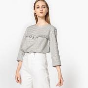 Soldes ! blouse manches 3/4, plastron volanté - feminin - gris - la redoute collections