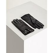 Gants en cuir à barres métalliques taille t-m noir