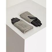 Gants en laine mélangée et cuir taille t-s noir