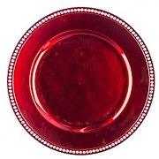 Lot de 12 dessous d'assiette strass rouge