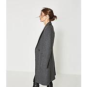 Manteau long en laine femme gris clair - promod