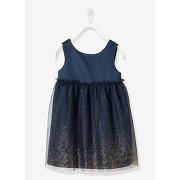 Soldes ! robe fille en satin et tulle - feminin - bleu - vertbaudet