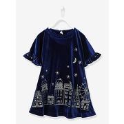 Soldes ! robe fille en velours à motifs irisés - feminin - bleu - vertbaudet