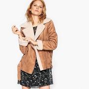 Soldes ! blouson esprit peau lainée - feminin - marron - la redoute collections