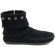 Soldes ! boots en suède et franges bodouble fringe side zip - - marron - minnetonka