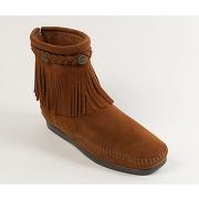 Soldes ! boots franges avec tresse cheville, cuir suede - - marron - minnetonka