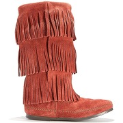 Soldes ! bottes cuir suédé layer fringe boots - - orange - minnetonka