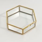 Boîte hexagonale verre et laiton uyova laiton