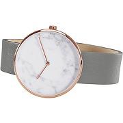 Molvena, montre, doré rose, cadran motif marbre et bracelet en cuir gris