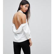 Femme asos petite - top à dos nu drapé - blanc
