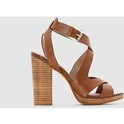 Sandales cuir brides croisées beige camel