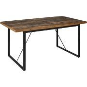 Table de repas rectangulaire effet bois et acier l160cm - 6 convives