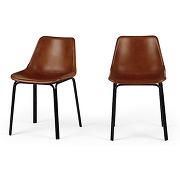 Lodi, lot de 2 chaises, marron et noir