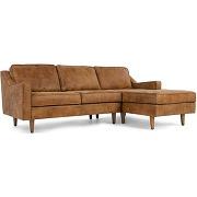 Dallas, canapé d'angle avec méridienne à droite, cuir de qualité supérieure marron clair