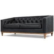 Rogers, canapé 3 places, cuir noir de qualité supérieure