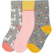 Lot de 3 paires de chaussettes, 23/26-35/38 imprimé rose