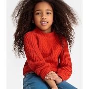 Pull col rond mailles torsades 3-12 ans rouge