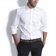 Chemise satin fitted homme blanc jules