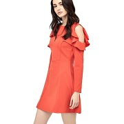 Robe manches avec ruches - rouge - femme - guess